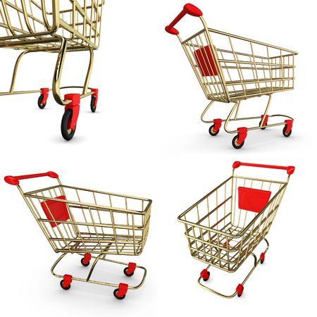 shoppingcart:  Gold empty Shoppingcart isolated on white Stock Photo