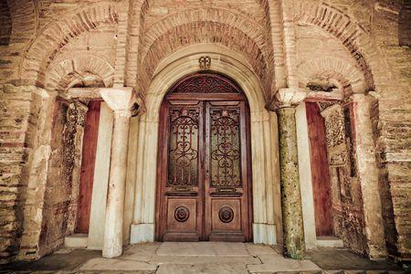 church architecture: Ancient Church wood door