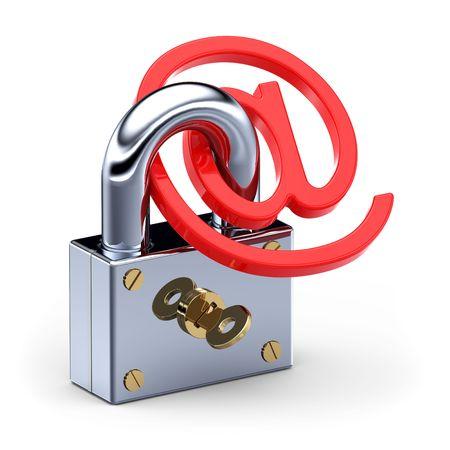 arroba: E-mail and padlock Stock Photo