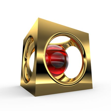 Red Rubi in gold cube photo