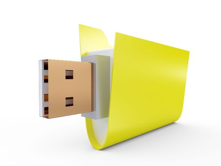 Yellow Folder with usb connect on white Stock Photo - 7945667