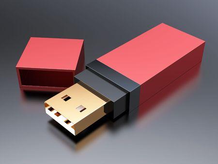 Usb memory flash stick on black background Stock Photo - 7945714