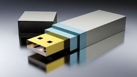 Secure usb key device on black Stock Photo - 7945710