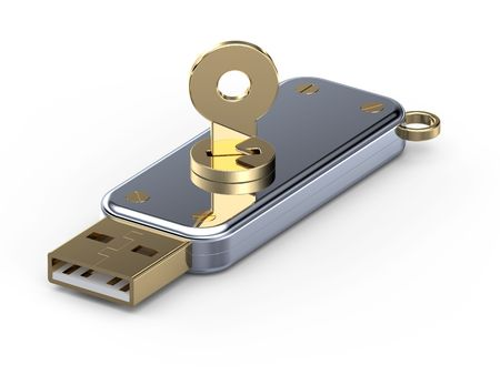memory stick: Usb flash memory with secure key Stock Photo