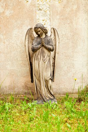 angel statue: Ancient statue on historical cemetary