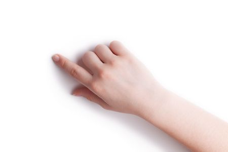 The hand specifies in a point on a white background Stock Photo - 8000244