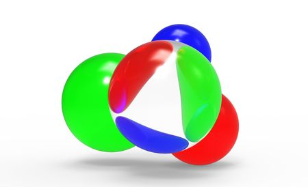 Red, blue and green spheres through a lens photo