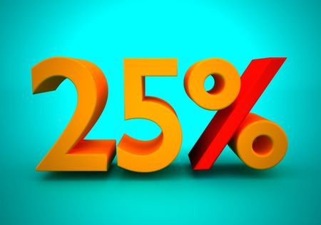 installment: Discount of 25 percent for a green background