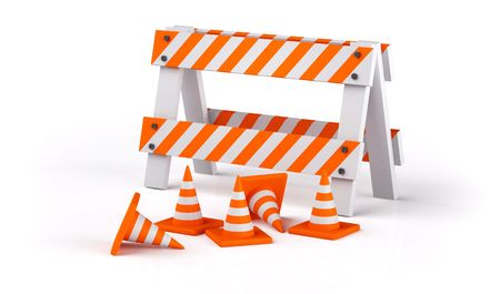 Traffic cones isolated on white Stock Photo