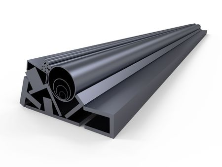 aluminum rod: A series of different sizes metal pipes on shelf