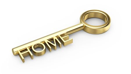 gain access: home gold key isolated on white