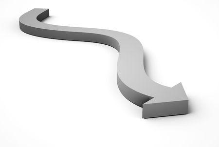 curvaceous: Blue arrow icon on white Stock Photo