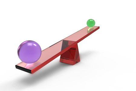 unequal: 3D de especificado de �mbitos en equilibrio  Foto de archivo