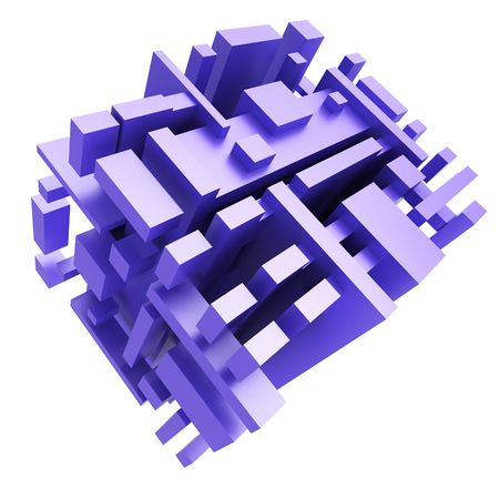hi tech: abstract structure from cubes on white Stock Photo