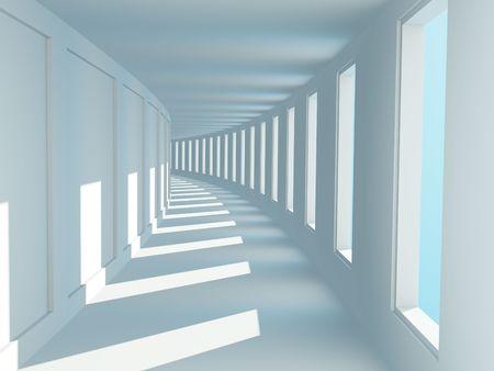 ventanas abiertas: Korridor largo vac�o con las ventanas abiertas  Foto de archivo