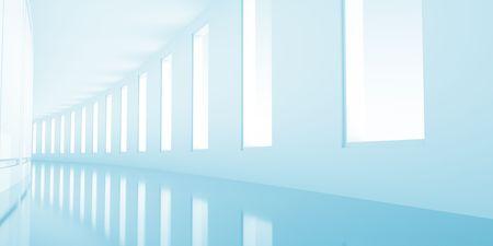 Long empty korridor with open windows Stock Photo - 8146877