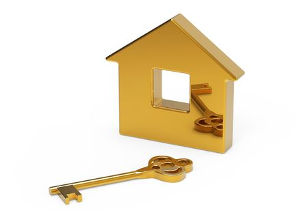 Gold key and little toy house on white Stock Photo - 8146908