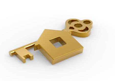 Gold key and little toy house on white Stock Photo - 8146907