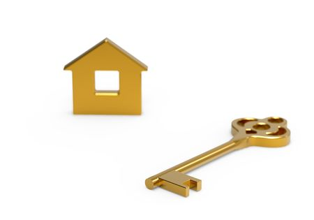 Gold key and little toy house on white photo