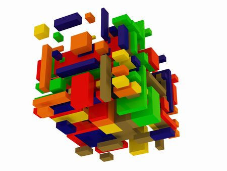 Abstract color cubes construction on white photo