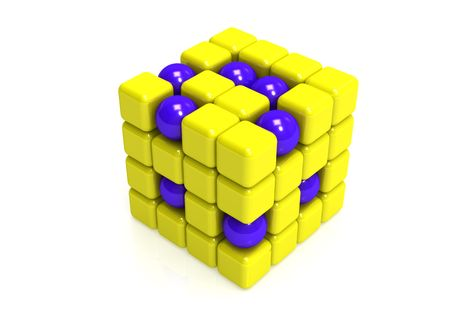 Blue Spheres and yellow  cubes photo