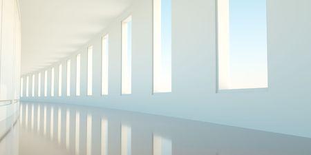 open windows: Long empty korridor with open windows Stock Photo