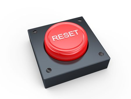 3D Red reset button on white photo