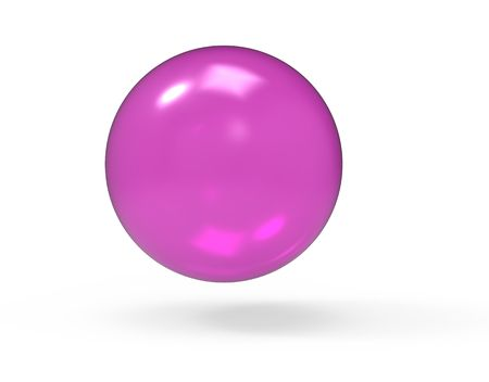 Pink 3d glass sphere on white photo