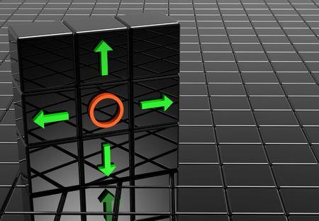 Green arrow on black mirror cubes 3d photo