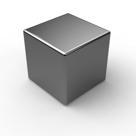 cube: Black Metal shine cube on white Stock Photo