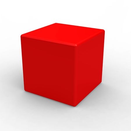 Red plastic cube isolated on white photo