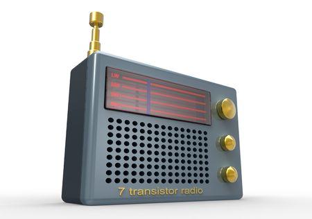 transistor: Transistor de Vintage radio 3d en blanco  Foto de archivo