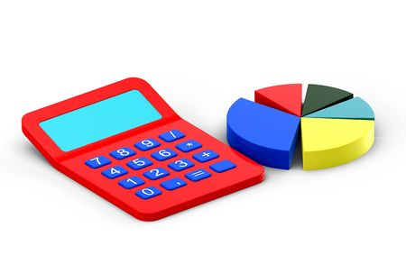 Calculator and diagram isolated on white photo