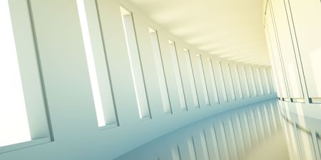 empty 3d corridor with open windows and yellow light photo