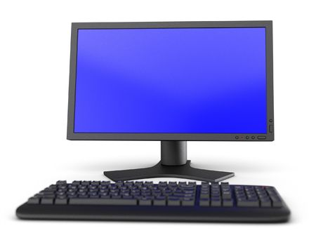 pc monitor: PC computer workspace monitor and keyboard