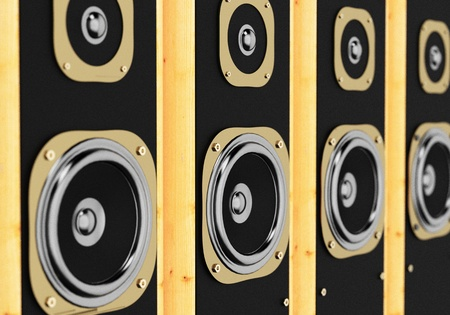 close up of an audio wooden box loudspeaker  photo