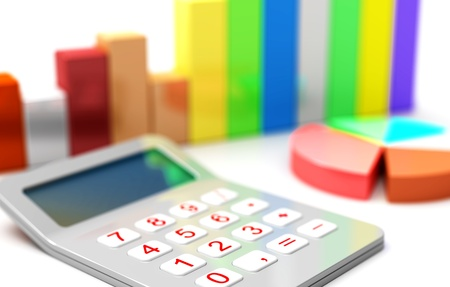 desarrollo econ�mico: Diagrama de la calculadora y negocio gr�fico 3d