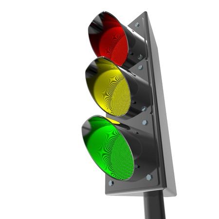 3d Traffic light semaphore on white Stock Photo - 8255076