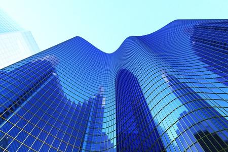Hi-Wolkenkratzer auf blauer himmel hintergrund blau Standard-Bild - 8255079