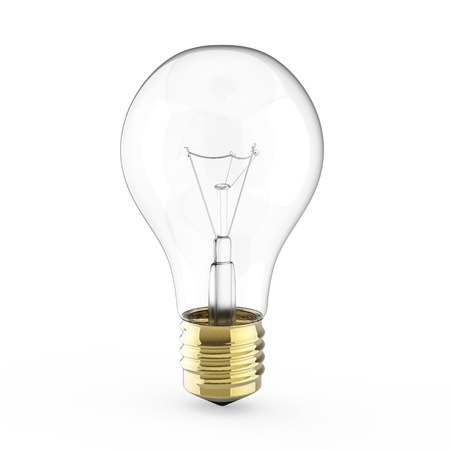 bulb idea: Electric 3d Light bulb isolated on white