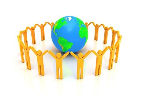 community group: Grupo de personas de pie alrededor de mundo 3d