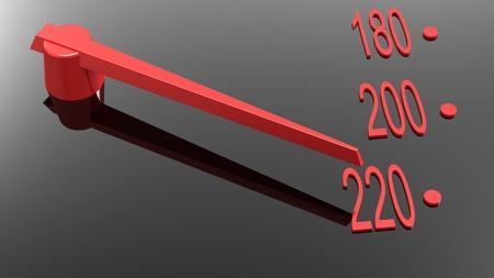 red speedometer arrow  on 220 Stock Photo - 8255035