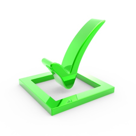 polls:  3D green check mark sign