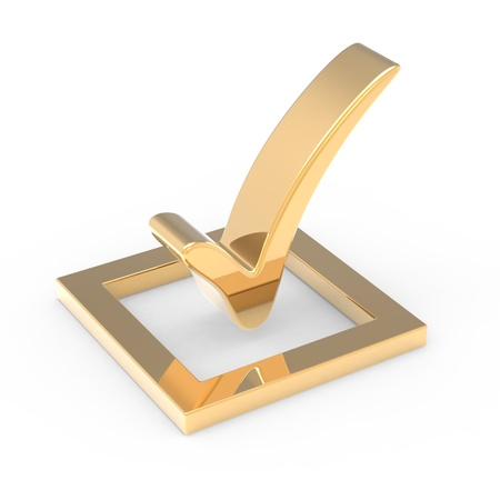 3D gold check mark sign photo