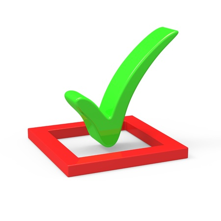 affirmative: 3D green  check mark sign