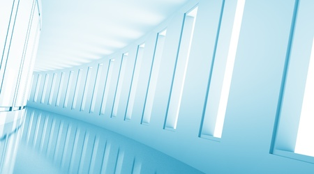 empty 3d corridor with open windows and blue light photo