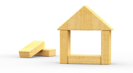 toy block: little toy wooden house  3d model