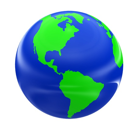 blue earth: 3d globe model of earth with green continent