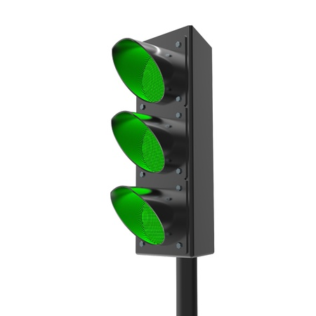 3d Traffic light semaphore on white photo