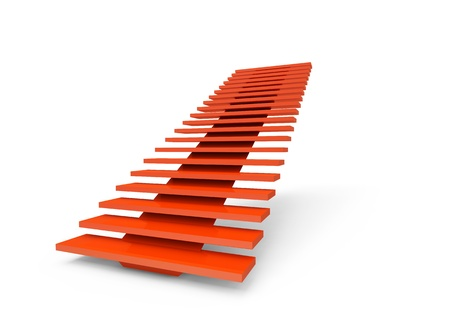 stairs interior: Abstract red 3d ladder steps Stock Photo